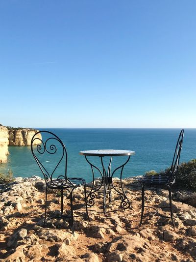 Tea for 2 Carvoeiro Vale Centianes Portugal Algarve Seat With A View Table With A View Ocean View Sea View Cliff Edge Clifftop Sea Horizon Over Water Clear Sky Water Blue Nature Tranquil Scene Tranquility Scenics No People