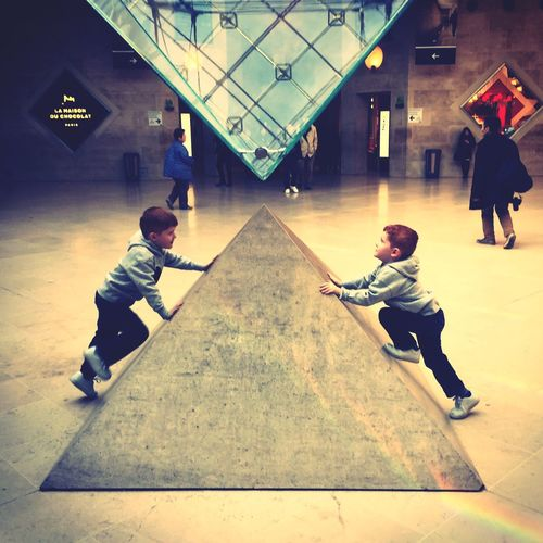 LourveMuseum Louvre Paris Twins Pyramid Spring Leisure Activity Indoors  Youth Culture Real People EyeEmNewHere