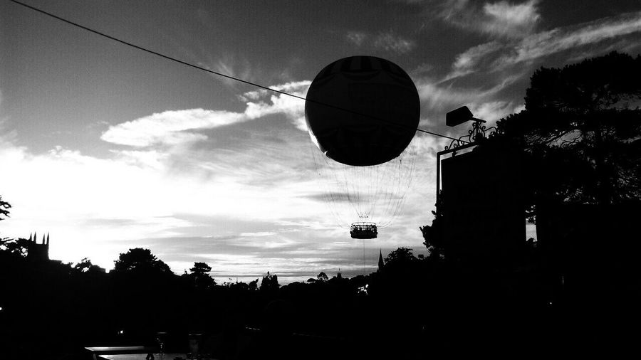 B&w Street Photography Bournemouth Gardens Bournemouth Balloon Balloon The Gardens Hanging Out Taking Photos Check This Out Hello World Cheese! Journey To Bournemouth Bournemouth Leballoon Sunset Skyporn Sky_collection Clouds Sunset Silhouettes Blackandwhite Black & White Black And White