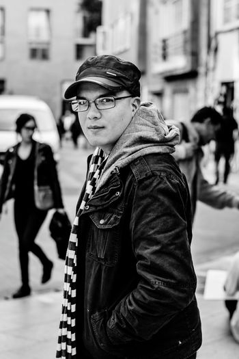 Winter Adult Incidental People Adults Only Warm Clothing People Men Real People Young Adult Outdoors City The Portraitist - 2017 EyeEm Awards Fashion One Young Man Only Handsome Looking At Camera Portrait One Man Only Street Photography Black And White