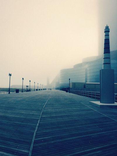 Beautiful foggy day Atlantic City Buildings & Sky Boardwalk Photography Foggy Day