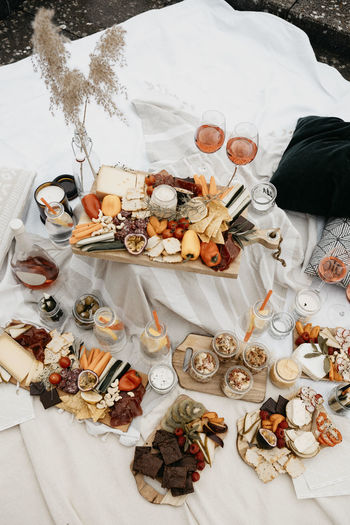 High angle view of food on bed