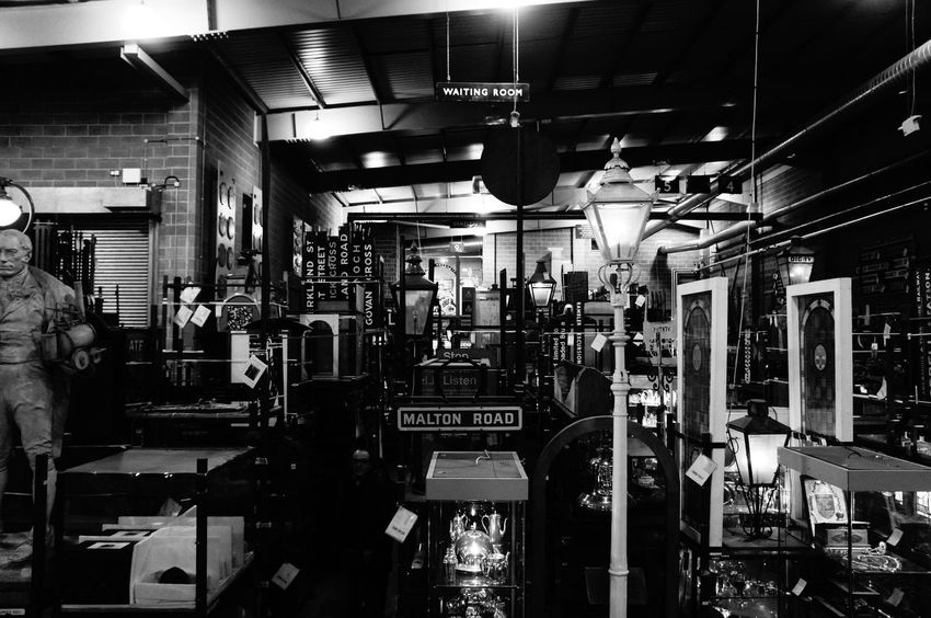 Antique Blackandwhite Blackandwhite Photography Collection Indoors  Large Group Of Objects Light Monochrome Railway Signs Statue Train Museum Urban Vintage York