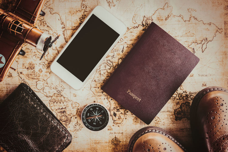 Overhead view of Traveler's accessories, Essential vacation items, Travel concept background, vintage background, love story, selective focus, go to see the world, save money for travel Background, Chrome, Design, Metallic, Geometric, Metal, 3d, Shape, Abstract, Texture, Style, Art, Pattern, Wallpaper, Steel, Technology, Shiny, Backdrop, Reflection, Silver, Concept, Render, Luxury, Modern, Lines, Futuristic, Architecture, Material, Illus Close-up Day Directly Above High Angle View Hipster, Holiday, Journey, Lay, Leather, Indoors  No People Wooden, Carpenter, Remains