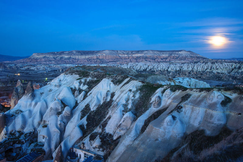 Goreme national park in moonlight Cappadocia Kapadokya Moon National Park Travel Turkey Blue Göreme Landscape Moonlight Nature Night Nightscape No People Outdoors Sandstone Scenics - Nature Travel Travel Destinations HUAWEI Photo Award: After Dark