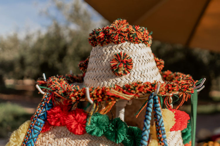 Berber  Marrakesh Marrakech Morocco Travel Destinations Tourist Destination Travel Photography Travel Decoration Close-up No People Art And Craft Textile Wool Outdoors Focus On Foreground Craft Pattern Hat Clothes Traditional Clothing