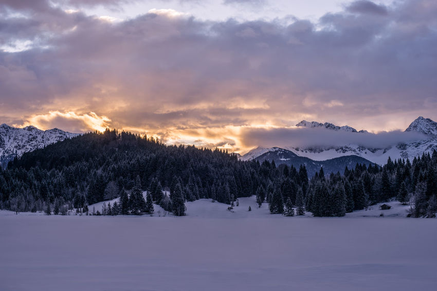 Beauty In Nature Cloud - Sky Cold Temperature Environment Idyllic Landscape Mountain Nature No People Non-urban Scene Plant Scenics - Nature Sky Snow Snowcapped Mountain Sunset Tranquil Scene Tranquility Tree Winter