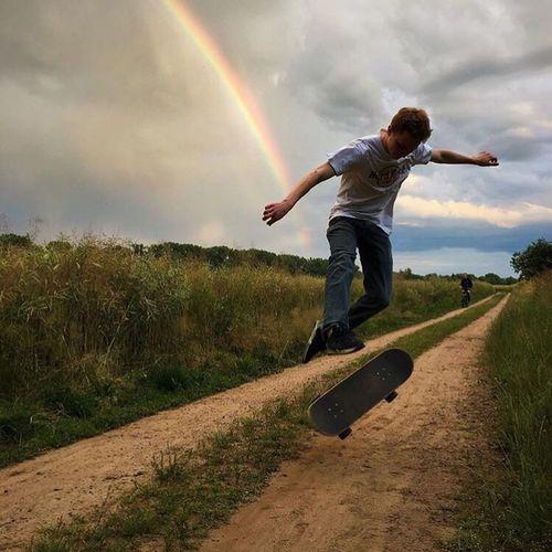 Skateboarding 360flip Rainbow Germany Summer Chill First Eyeem Photo