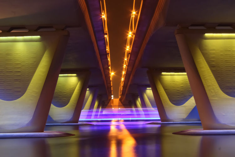 EyeEmNewHere Illuminated Architecture Built Structure Architectural Column In A Row Bridge Light Underneath Digital Composite The Way Forward Connection Glowing Star Dust Long Exposure Diminishing Perspective Water Night Reflection