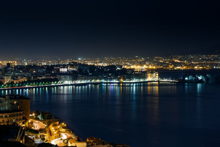 Aerial View Architecture Bay Bay Area Building Exterior Built Structure Castel Dell'ovo Chiaia City Cityscape Connection Elevated View Golfo Di Napoli High Angle View Illuminated Night No People Outdoors Posilipo Reflection Sky Travel Destinations Urban Skyline Water