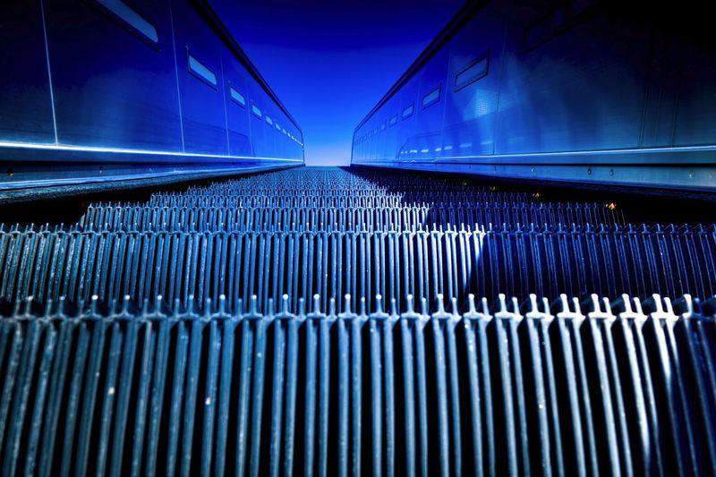 Overhead view of an escalator