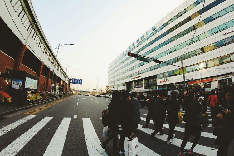 ASIA Asian  Avenue City Crosswalk Korea Passage Pedestrian People Street Weekdays The City Light The Street Photographer - 2017 EyeEm Awards BYOPaper! EyeEm Selects EyeEmNewHere