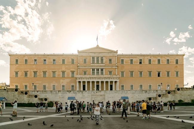 Greek Parliament in Athens Greek Parliament Architectural Column Architecture Athens Building Exterior Built Structure Cloud - Sky Day Greece History Large Group Of People Men Outdoors People Real People Sky Tourism Travel Travel Destinations Women