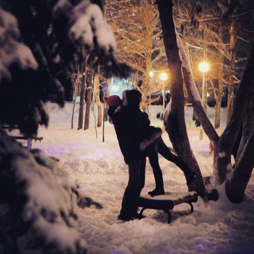 Winter Beautiful Love Street Foto