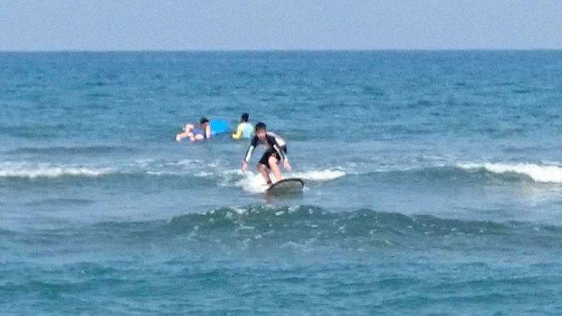 My son, Joshua Buenaventura, trying the waves of La Union.