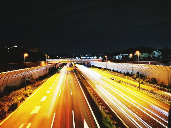 City Illuminated Motion Road Long Exposure Speed Light Trail Winter Street Light Car Highway Rush Hour Vehicle Light Multiple Lane Highway Road Intersection Thoroughfare Crossroad Urban Road Viaduct Traffic Car Point Of View Overpass Elevated Road Tail Light Headlight Two Lane Highway Traffic Jam