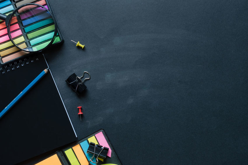 Top view of educational supplies on black board. Black Background Learning Office Activity Architecture Blackboard  Board Chalk - Art Equipment Close-up Copy Space Drawing Education Educational High Angle View Homework Indoors  Learning Magnifying Glass Multi Colored Notebook Painting Pencil School Still Life Table EyeEmNewHere