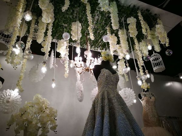 Illuminated Elegant Dress White Gown Gown Celebration Indoors  No People