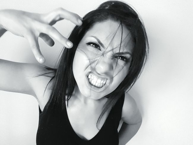 Angry Angry Emotion Mad Scream Beauty Toothy Smile Leisure Activity Young Adult Headshot Front View Woman Blackandwhite Black&white Model Studio Shot Attitude Expression