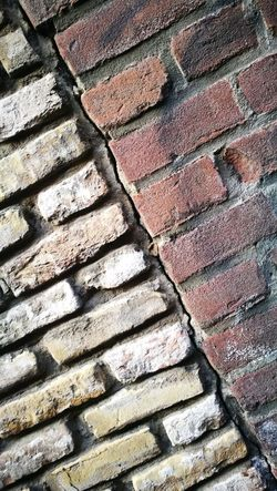 Close-up Divided Brick Wall Textured  Textured  Backgrounds Pattern Wall Wall - Building Feature Dividing Line Dividing Wall Diagonal