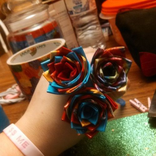 Flowers made today. Red Blue Tie_dye Gummy_bear