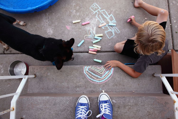 Directly above shot of boy drawing while sitting on walkway with dog