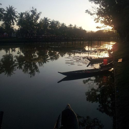 Sunset at Sukothai heritage park. Thailand