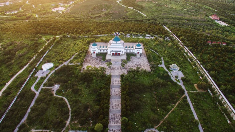 Overlooking Gen Gi Khan Temple Aerial Photograph Dji Genghis Khan Overlooking Gen Gi Khan Temple Tree Aerial View High Angle View Architecture Landscape Green Color Grass Built Structure HUAWEI Photo Award: After Dark