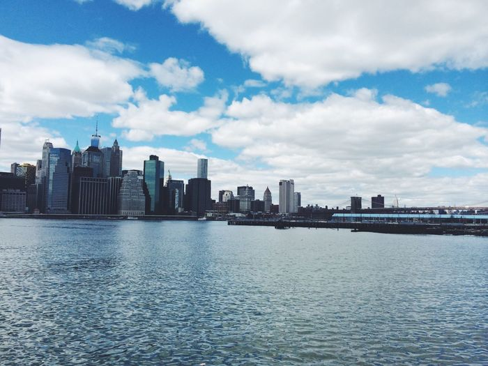 NYC New York New York City City Cityscape Landscape Skyline Water River View Sky Clouds Blue Reflection Reflect