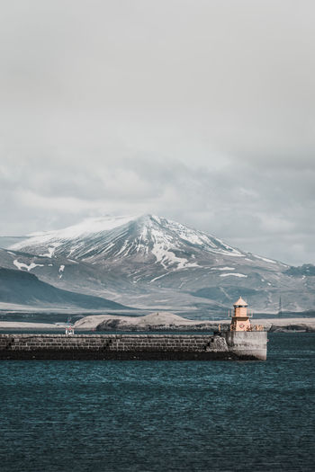 Cold day Cold Temperature Snow Mountain Winter Water Scenics - Nature Beauty In Nature Sky Nature Cloud - Sky No People Snowcapped Mountain Day Sea Tranquil Scene Tranquility Ice Outdoors Iceland Reykjavik Port Harbor Travel Travel Destinations