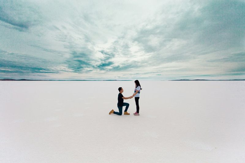 The once in a lifetime moment Proposal Propose Dry Salt Lake Will You Marry Me? Say Yes Cloudy Take Me Somewhere We Can Be Alone On Your Knees