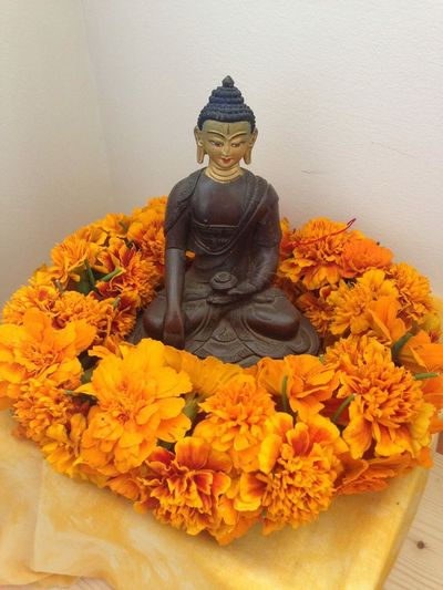 Buddha statue Marigolds With Buddha
