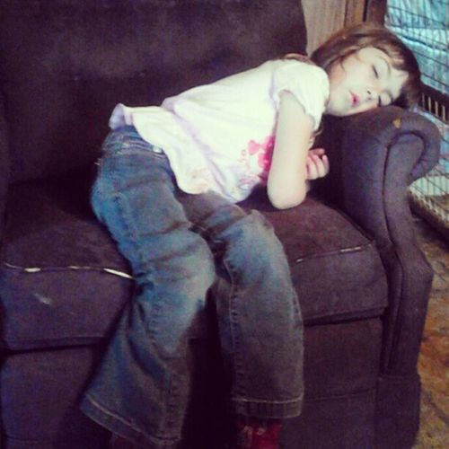 Got off the bus not even ten minutes of being home and she was out must have played hard at school Lovethiskid