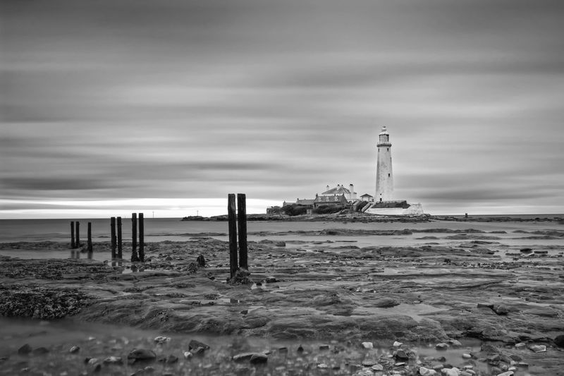 St Marys Lighthouse Lighthouse Land Sky Beach Cloud - Sky Water Sea Built Structure Architecture Nature Day Building Exterior Scenics - Nature No People Beauty In Nature Tranquil Scene Horizon Outdoors Tranquility