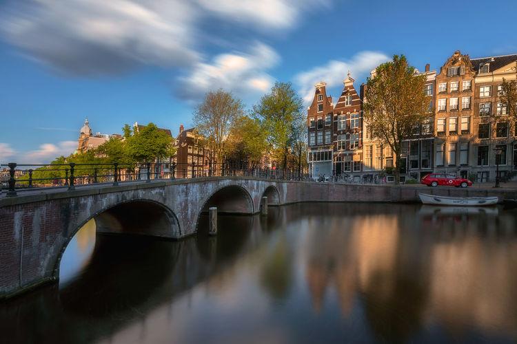 Bridge over river in city