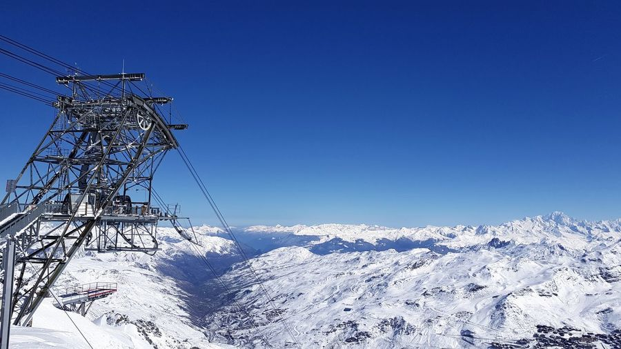 Snow Winter Cold Temperature Clear Sky Nature Blue Snowcapped Mountain Landscape Scenics Mountain Beauty In Nature Travel Destinations Taking Photos Taking Pictures Eye4photography  Winter Sport Alps France Alps Frozen Powder Snow Ski Lift Vacations Adventure Freshness France 🇫🇷