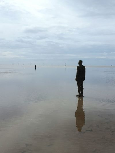 Tranquility Tranquil Scene Reflection Sea Scenics Cloud - Sky Shore Solitude Lonliest Place Horizon Over Water Art Installation Antony Gormley Sculptures Tranquility Reflection Beach Landscape Water Seascape Seaside Seashore Beach Photography Coastline Beauty In Nature Water Surface Sky