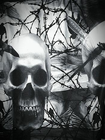 Tee Shirt Skullduggery Tshirt Tshirts T Shirt T Shirts Skull Skulls Skull Art Skullporn Black&white Black And White Blackandwhite Photography Radiation Poisoning Black & White Blackandwhite Barbed Wire Tshirtoftheday Tshirtmaniac Tshirt♡ Skullshit T Shirt Collection The Human Condition T Shirt Art Skulls.