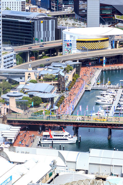 Close up of boats and bridge in Darling Harbour Cityscape Darling Harbour Architecture Bridge - Man Made Structure Building Exterior Built Structure City Cityscape Day Harbor High Angle View Mode Of Transport Modern Nautical Vessel No People Outdoors Transportation Travel Destinations Water