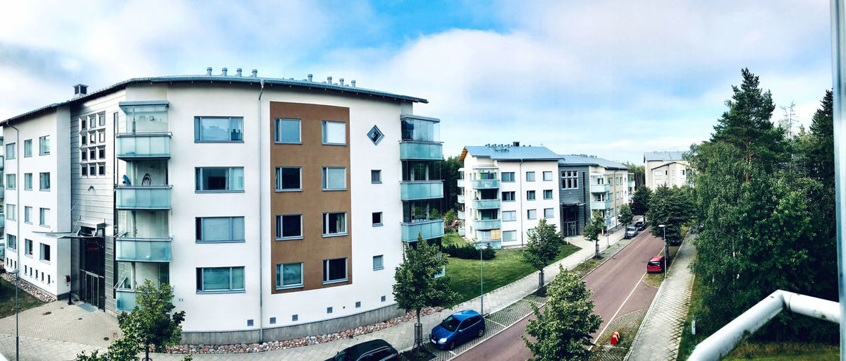 Panoramic view of buildings against sky