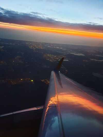 Amsterdam Sunset City Airplane Cityscape Urban Skyline Flying Water Sunset Aerial View Commercial Airplane Air Vehicle