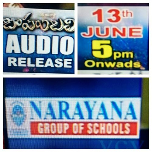 When corporate schools and colleges don't encourage students to watch films.. Then why do they sponsor for events like this! Narayana School Corporate Baahubali Audio Release Sponsors Pity Moneyminded Crap