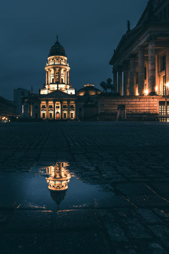 Seagulls View Building Exterior Architecture Built Structure Night Illuminated City Sky Reflection Water Travel Destinations Building Berlin Puddle Lighting Equipment History Street