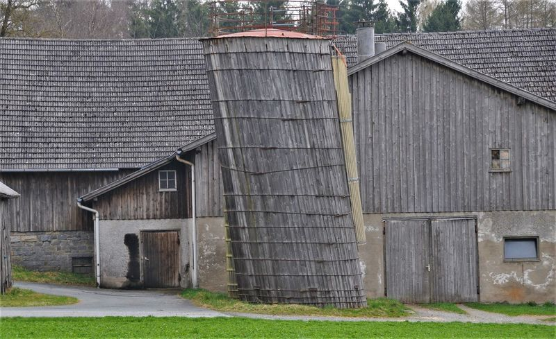 Agriculture Farm Incline Barn Built Structure Day Feline Germany No People Schief Silo