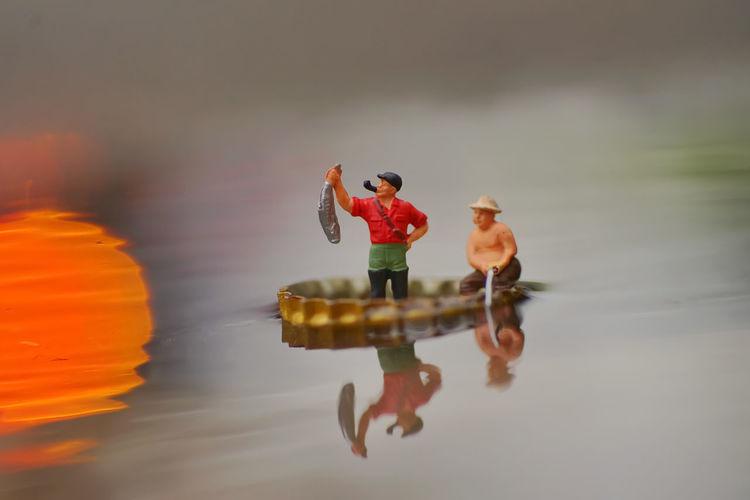 Toys on lake