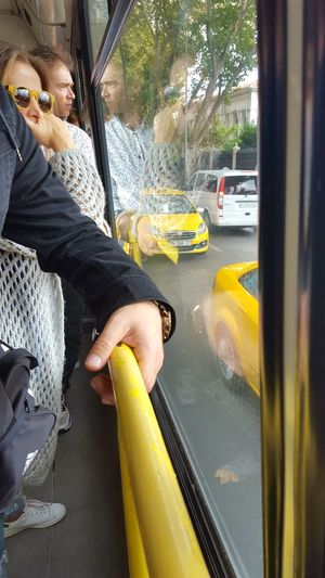 Reflection Dramatic Angels Transportation Car Street Yellow Bus Ride Bus Taxi Istanbul, Turkey Taxi Cab People Group Of People Waiting Watching