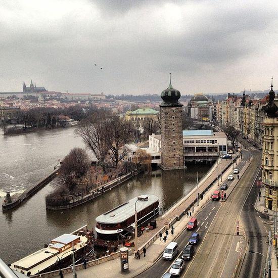 A snowy day in Prague