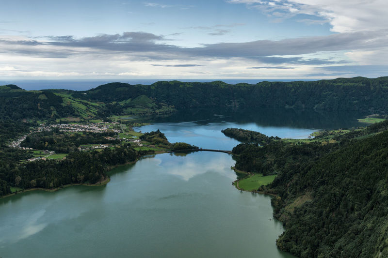 Azores Sete Cidades Capture The Moment Mountain Morning Light Water Scenics - Nature Cloud - Sky Sky Beauty In Nature Tranquil Scene Tranquility Nature No People Tree Day Plant Non-urban Scene Lake Idyllic High Angle View Environment Outdoors