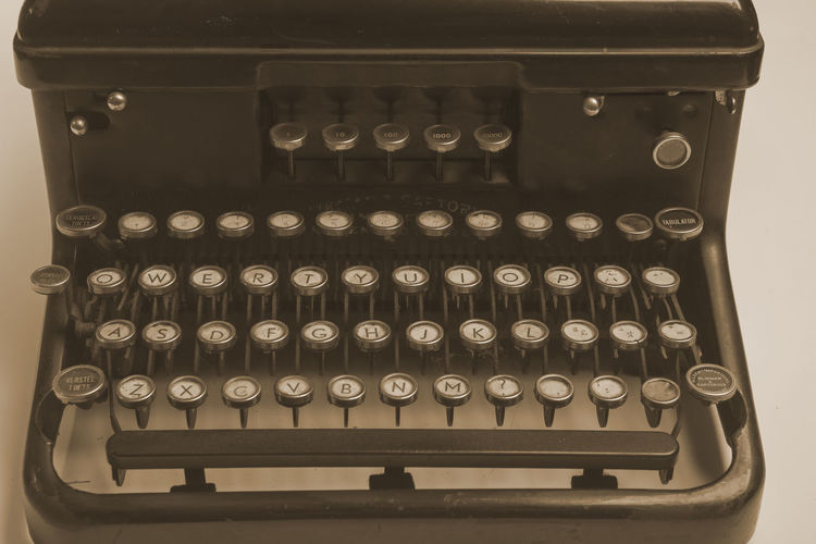 Antique dirty and dusty typewriter of the 1940's 1940's Antique Close-up Communication History Letters Machine Nostalgia Number Office Old-fashioned Push Button Retro Styled Secretary Sepia Technology Text Typewriter Vintage Writer Writing
