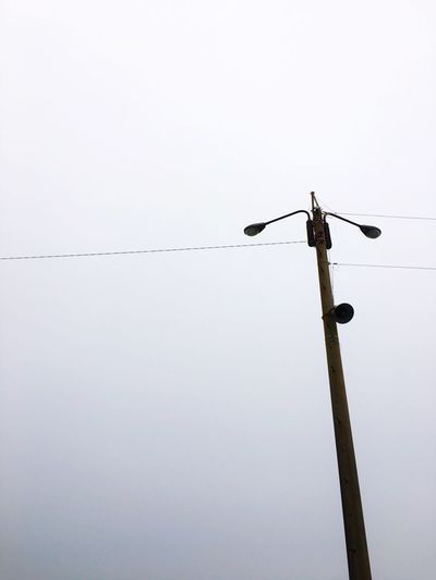 Low Angle View Power Line  Cable Light Streetlight